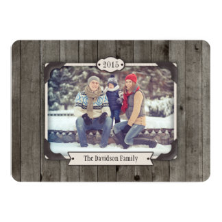 Barn Wood Christmas Photo Holiday Flat Card