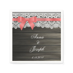 Barn Wood coral bow and Lace Napkins Standard Cocktail Napkin