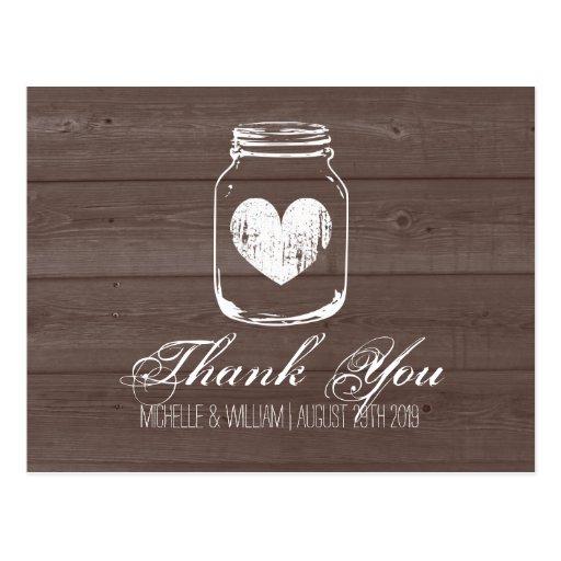 Barn wood country chic mason jar thank you cards Postcard