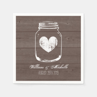 Barn wood country chic mason jar wedding napkins