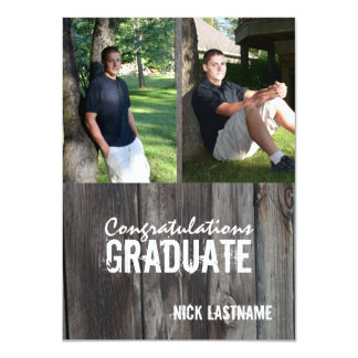 Barn Wood Country Grad Twin Photo Card