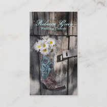 barn wood cowboy boot white daisy florist business card