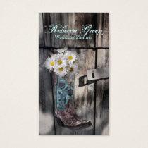 barn wood cowboy boot white daisy florist business card