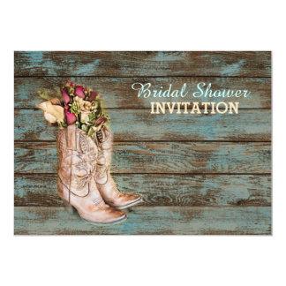barn wood cowboy boots western bridal shower card