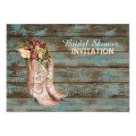 barn wood cowboy boots western bridal shower 5x7 paper invitation card