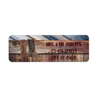 barn wood Cowboy Boots Western country Wedding Label