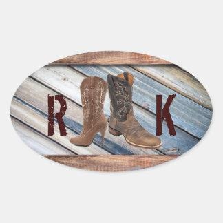barn wood Cowboy Boots Western country Wedding Oval Sticker