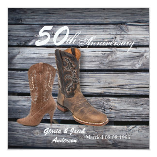 barn wood cowboy Western 50th wedding anniversary Card