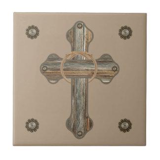 Barn Wood Cross and Conchos Tile