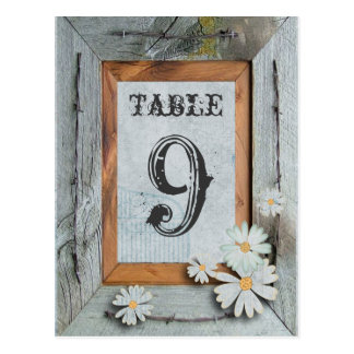 barn wood daisy country wedding table numbers postcard