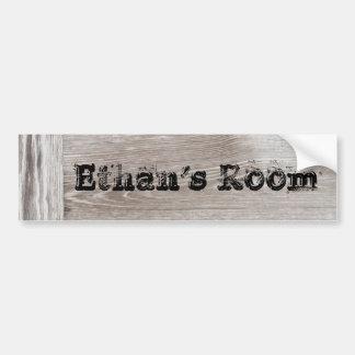 barn wood door name sticker