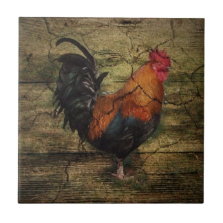 Barn Wood Farm Chicken french country rooster Tile