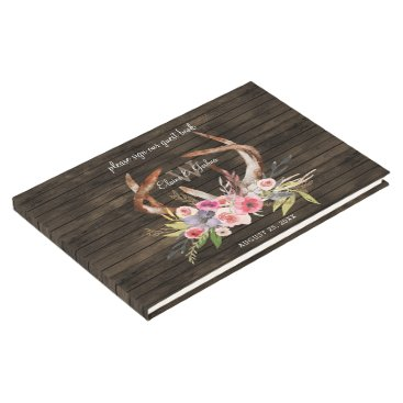 barn wood floral antler rustic wedding Guest Book