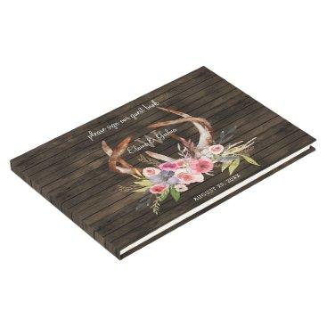 barn wood floral antler rustic wedding Guest Book