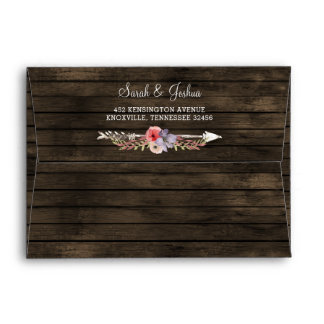 barn wood floral rustic country chic envelopes