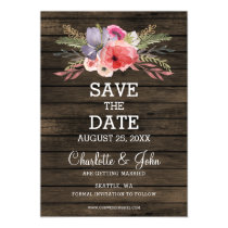 barn wood floral rustic country save the date magnetic card