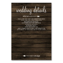 barn wood floral rustic wedding details card