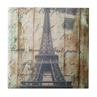 Barn Wood French Country Paris Eiffel Tower Ceramic Tile