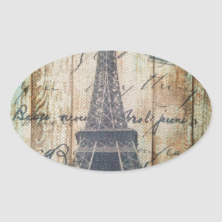 Barn Wood French Country Paris Eiffel Tower Oval Sticker