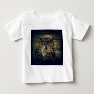 Barn Wood Gothic wild bird Spooky hoot owl Baby T-Shirt