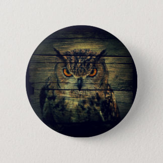 Barn Wood Gothic wild bird Spooky hoot owl Button