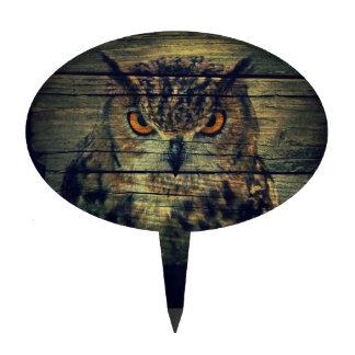 Barn Wood Gothic wild bird Spooky hoot owl Cake Topper