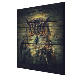 Barn Wood Gothic wild bird Spooky hoot owl Canvas Print