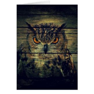 Barn Wood Gothic wild bird Spooky hoot owl Card