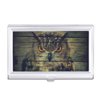 Barn Wood Gothic wild bird Spooky hoot owl Case For Business Cards