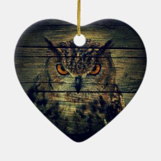 Barn Wood Gothic wild bird Spooky hoot owl Ceramic Ornament