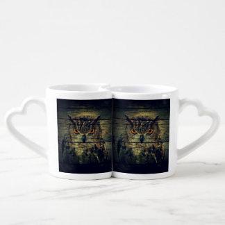 Barn Wood Gothic wild bird Spooky hoot owl Coffee Mug Set