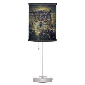 Barn Wood Gothic wild bird Spooky hoot owl Desk Lamp