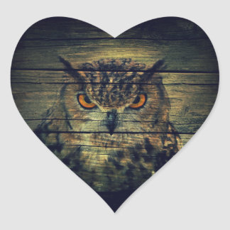 Barn Wood Gothic wild bird Spooky hoot owl Heart Sticker