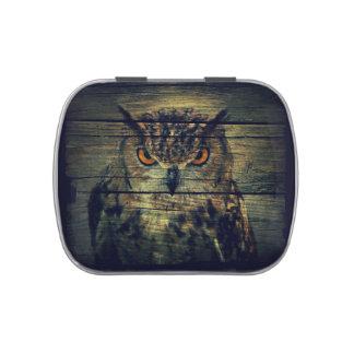 Barn Wood Gothic wild bird Spooky hoot owl Jelly Belly Tin