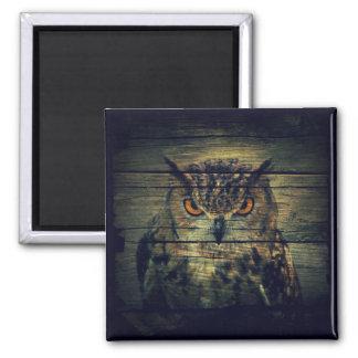 Barn Wood Gothic wild bird Spooky hoot owl Magnet