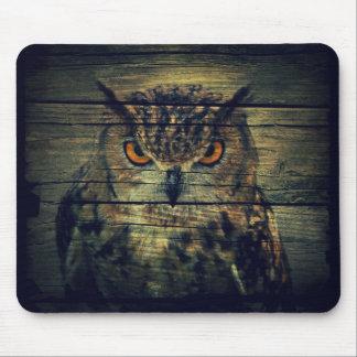 Barn Wood Gothic wild bird Spooky hoot owl Mouse Pad