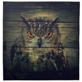 Barn Wood Gothic wild bird Spooky hoot owl Napkin