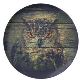 Barn Wood Gothic wild bird Spooky hoot owl Plate