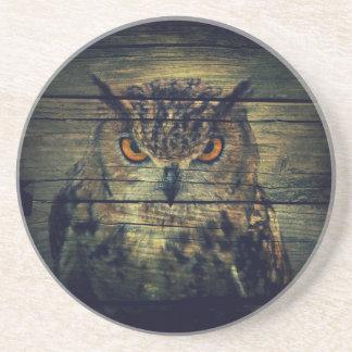 Barn Wood Gothic wild bird Spooky hoot owl Sandstone Coaster