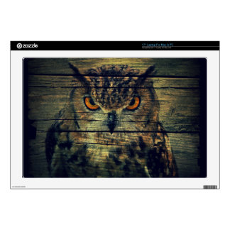 Barn Wood Gothic wild bird Spooky hoot owl Skins For Laptops