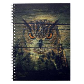 Barn Wood Gothic wild bird Spooky hoot owl Spiral Notebook