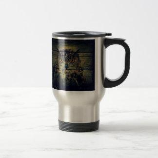 Barn Wood Gothic wild bird Spooky hoot owl Travel Mug