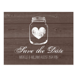 Barn wood grain mason jar save the date cards