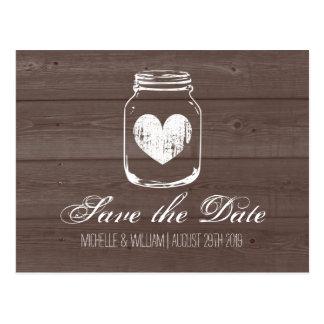 Barn wood grain mason jar save the date cards