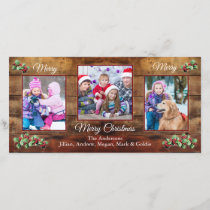 Barn wood & holly 3 photo Christmas greeting card