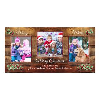 Barn wood & holly 3 photo Christmas greeting card