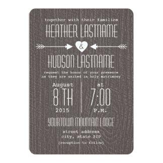 Barn Wood Inspired Arrows + Heart Rustic White Card