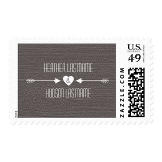 Barn Wood Inspired Arrows Wedding - White Postage