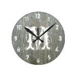Barn Wood Inspired Monogram Clock