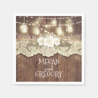 Barn Wood Lace Lights Mason Jar Rustic Wedding Paper Napkin